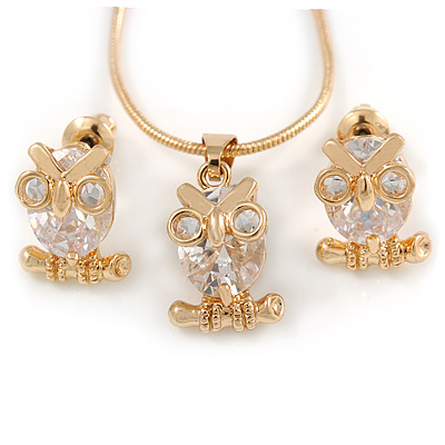 Tiny Clear CZ Owl Pendant with Snake Type Chain & Stud Earrings Set In Gold Tone - 42cm L/ 6cm Ext - main view