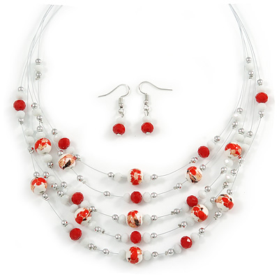 Romantic Multistrand Layered Glass/ Ceramic Beaded Necklace and Drop Earrings Set (White, Red) - 50cm L/ 5cm Ext