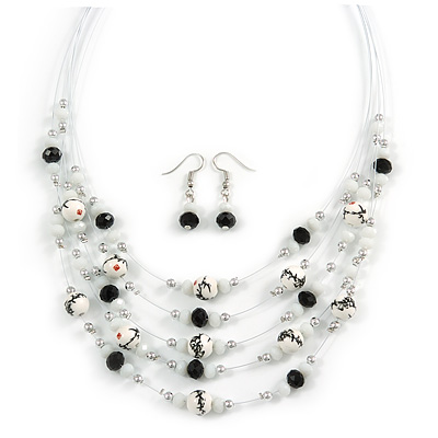 Romantic Multistrand Layered Glass/ Ceramic Beaded Necklace and Drop Earrings Set (White, Black) - 50cm L/ 5cm Ext