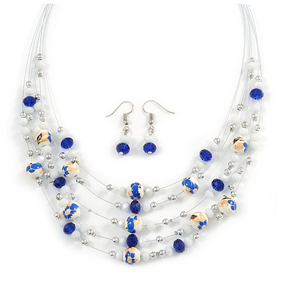 Romantic Multistrand Layered Glass/ Ceramic Beaded Necklace and Drop Earrings Set (White, Blue) - 50cm L/ 5cm Ext
