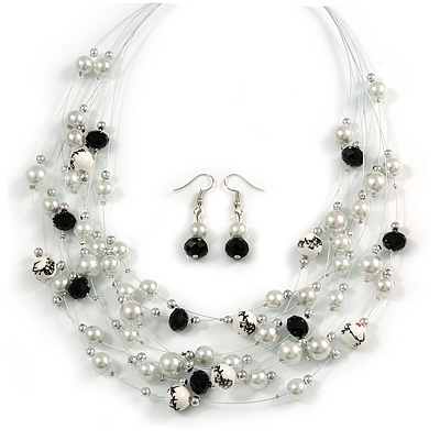 Romantic Multistrand Layered Beaded Necklace and Drop Earrings Set (White, Black) - 50cm L/ 4cm Ext - main view