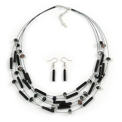 Multistrand Black Glass Bead Wire Necklace & Drop Earrings Set - 48cm Length/ 5cm Extension - main view