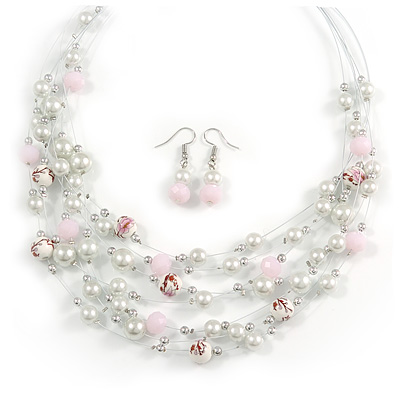 Romantic Multistrand Layered Beaded Necklace and Drop Earrings Set (White, Pastel Pink) - 50cm L/ 4cm Ext