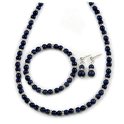 6mm Dark Blue Ceramic Bead Necklace, Flex Bracelet & Drop Earrings With Crystal Ring Set In Silver Tone - 42cm L/ 4cm Ext