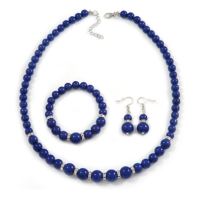 Blue Ceramic Bead Necklace, Flex Bracelet & Drop Earrings With Crystal Ring Set In Silver Tone - 48cm L/ 6cm Ext - main view