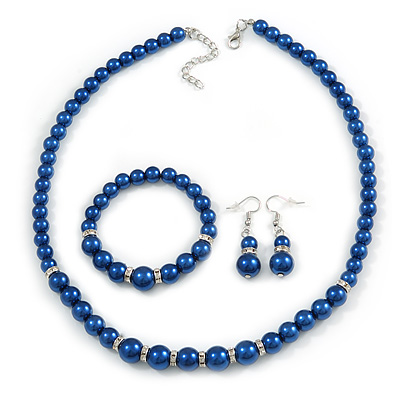 Inky Blue Glass Bead Necklace, Flex Bracelet & Drop Earrings With Crystal Ring Set In Silver Tone - 48cm L/ 6cm Ext