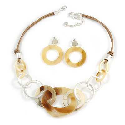 Yellow/ Brown Acrylic and Metal Round Link Leather Cord Necklace and Drop Earrings Set In Silver Tone - 50cm L/ 9cm Ext - Gift Boxed