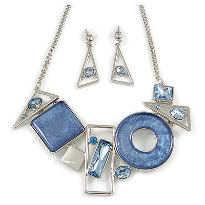 Light Blue Crystal Geometric Necklace and Drop Earrings Set In Sivler Tone - 38cm L/ 7cm Ext - Gift Boxed
