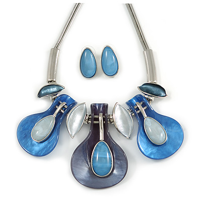 Contemporary Acrylic and Metal Leaf Necklace and Stud Earrings Set In Silver Tone - 37cm L/ 9cm Ext - Gift Boxed