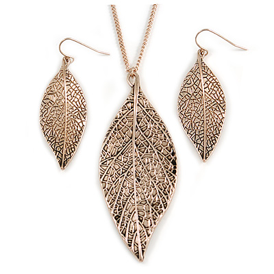Vintage Inspired Textured Leaf Pendant and Drop Earrings Set In Aged Rose Gold Tone - 60cm L/ 7cm Ext