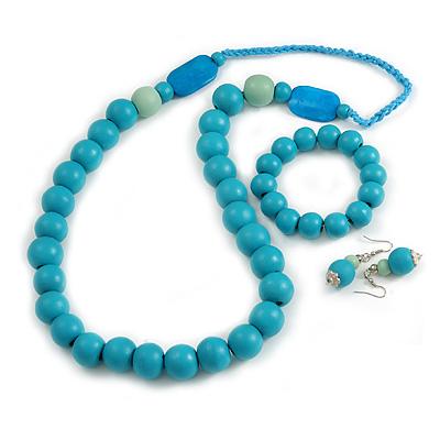 Mint/ Turquoise Coloured Wooden Bead Necklace, Flex Bracelet and Drop Earrings Set - 80cm Long