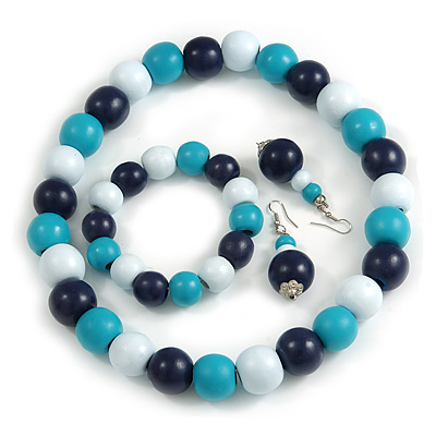 Dark Blue/ Turquoise/ White Wood Flex Necklace, Bracelet and Drop Earrings Set - 46cm L - main view
