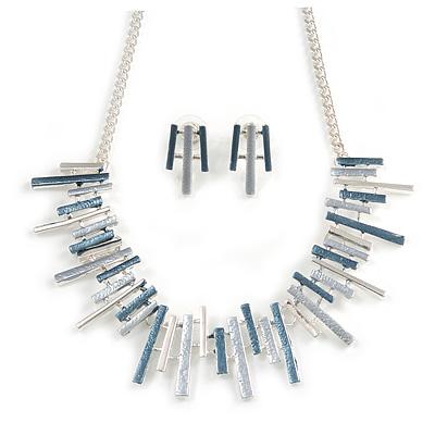 Pastel Metallic Silver/ Grey/ Blue Matt Enamel Abstract Bar Necklace & Stud Earrings In Silver Tone Metal - 43cm L/ 6cm Ext