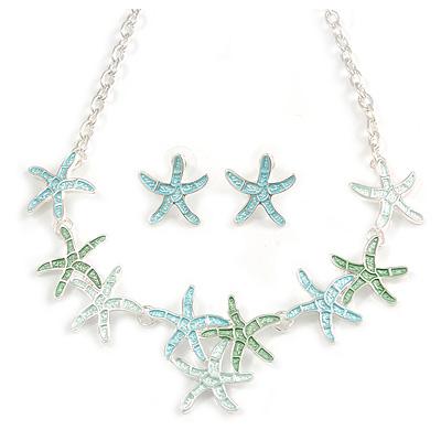 Pastel Mint/ Green/ Blue Matt Enamel Starfish Necklace & Stud Earrings In Silver Tone Metal - 42cm L/ 6cm Ext