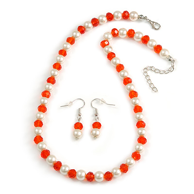 Amber Orange Glass Bead, White Glass Faux Pearl Neckalce & Drop Earrings Set with Silver Tone Clasp - 40cm L/ 4cm Ext
