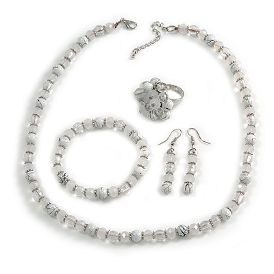 White/ Transparent Glass/ Ceramic Bead with Silver Tone Spacers Necklace/ Earrings/ Bracelet/ Ring Set - 48cm L/ 7cm Ext, Ring Size 7/8 Adjustable - main view