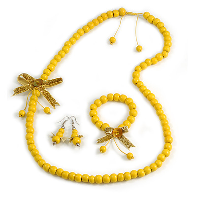 Yellow Wooden Bead with Bow Long Necklace, Bracelet and Drop Earrings Set - 80cm Long