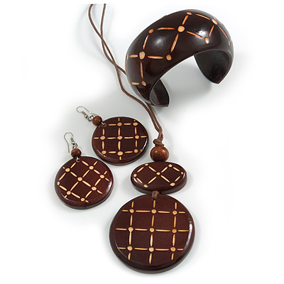 Long Brown Cord Wooden Pendant with Line and Dot, Drop Earrings and Cuff Bangle Set in Brown - 76cm L/ Medium Size Bangle