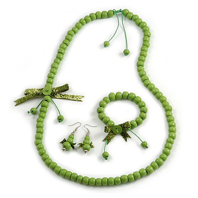 Lime Green Wooden Bead with Bow Long Necklace, Bracelet and Drop Earrings Set - 80cm Long