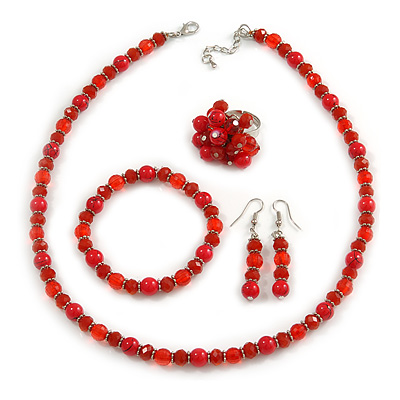 Red Glass/ Ceramic Bead with Silver Tone Spacers Necklace/ Earrings/ Bracelet/ Ring Set - 48cm L/ 7cm Ext, Ring Size 7/8 Adjustable