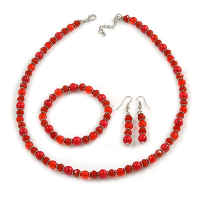 Red Glass/ Ceramic Bead with Silver Tone Spacers Necklace/ Earrings/ Bracelet Set - 48cm L/ 7cm Ext - main view