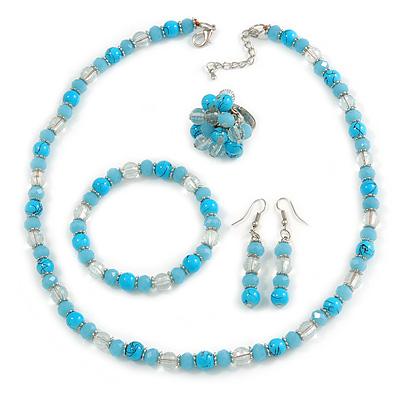 Light Blue/ Transparent Glass/ Ceramic Bead with Silver Tone Spacers Necklace/ Earrings/ Bracelet/ Ring Set - 48cm L/ 7cm Ext, Ring Size 7/8 Adjustabl