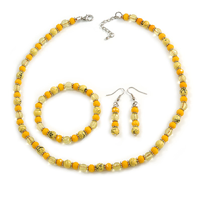 Yellow Glass/ Ceramic Bead with Silver Tone Spacers Necklace/ Earrings/ Bracelet Set - 48cm L/ 7cm Ext