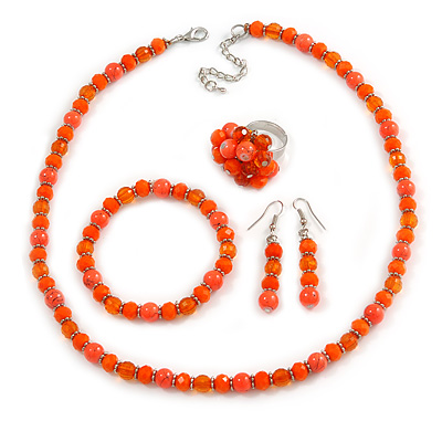 Orange Glass/ Ceramic Bead with Silver Tone Spacers Necklace/ Earrings/ Bracelet/ Ring Set - 48cm L/ 7cm Ext, Ring Size 7/8 Adjustable