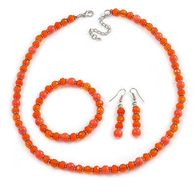 Orange Glass/ Ceramic Bead with Silver Tone Spacers Necklace/ Earrings/ Bracelet Set - 48cm L/ 7cm Ext