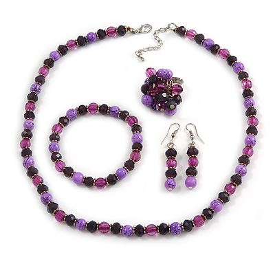 Deep Purple/ Lilac/ Violet Glass/ Ceramic Bead with Silver Tone Spacers Necklace/ Earrings/ Bracelet/ Ring Set - 48cm L/ 7cm Ext, Ring Size 7/8 Adjust