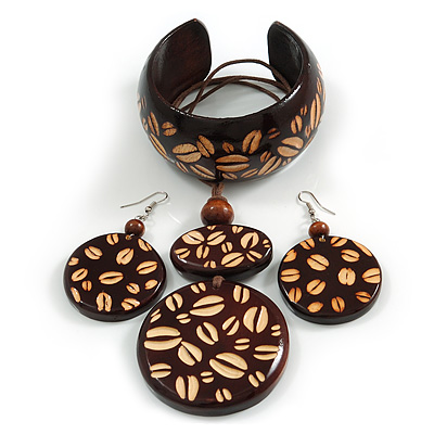 Long Brown Cord Wooden Pendant with Coffee Beans Motif, Drop Earrings and Cuff Bangle Set in Brown - 76cm L/ Medium Size Bangle