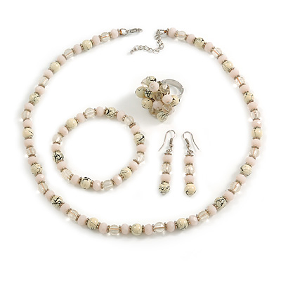 Cream/ Pale Pink/ Transparent Glass/ Ceramic Bead with Silver Tone Spacers Necklace/ Earrings/ Bracelet/ Ring Set - 48cm L/ 7cm Ext, Ring Size 7/8 Adj