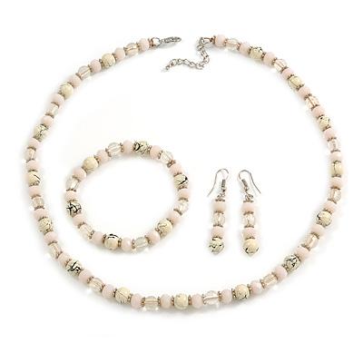 Cream/ Pale Pink/ Transparent Glass/ Ceramic Bead with Silver Tone Spacers Necklace/ Earrings/ Bracelet Set - 48cm L/ 7cm Ext
