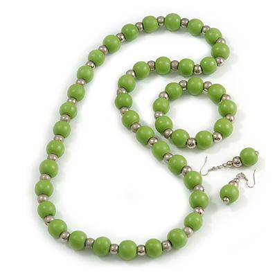 Light Green Wood and Silver Acrylic Bead Necklace, Earrings, Bracelet Set - 70cm Long