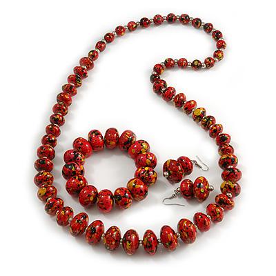 Red/ Black/ Gold Wooden Bead Long Necklace, Drop Earrings, Flex Bracelet Set - 80cm Long