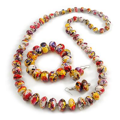 Multicoloured Wooden Bead Long Necklace, Drop Earrings, Flex Bracelet Set - 80cm Long - main view