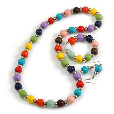 Multicoloured Wood and Silver Acrylic Bead Necklace, Earrings, Bracelet Set - 70cm Long - main view