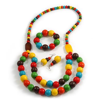 Chunky Multicoloured Long Wooden Bead Necklace, Flex Bracelet and Drop Earrings Set - 90cm Long