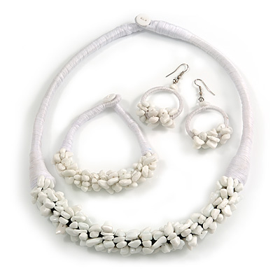 Ethnic Handmade Semiprecious Stone with Cotton Cord Necklace, Bracelet and Hoop Earrings Set In White - 56cm L
