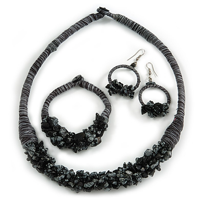 Ethnic Handmade Semiprecious Stone with Cotton Cord Necklace, Bracelet and Hoop Earrings Set In Black/ Grey - 56cm L