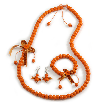 Orange Wooden Bead with Bow Long Necklace, Bracelet and Drop Earrings - 80cm Long
