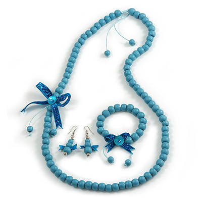 Light Blue Wooden Bead with Bow Long Necklace, Bracelet and Drop Earrings - 80cm Long
