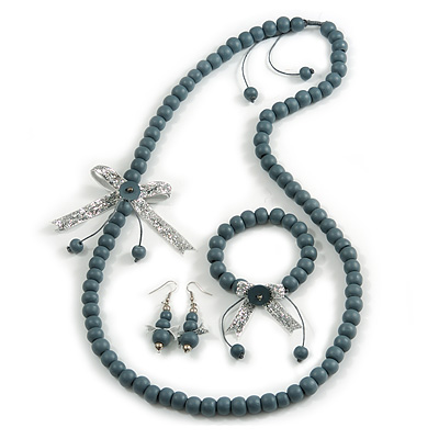 Grey Wooden Bead with Bow Long Necklace, Bracelet and Drop Earrings - 80cm Long