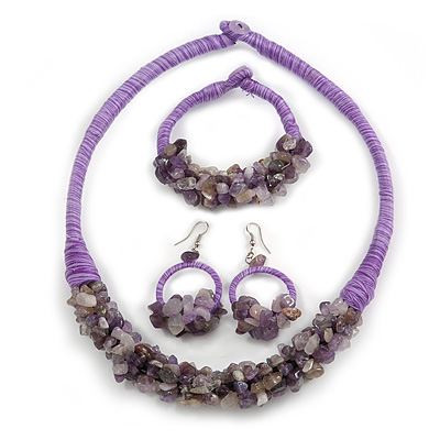 Ethnic Handmade Amethyst Semiprecious Stone with Cotton Cord Necklace, Bracelet and Hoop Earrings Set In Purple - 56cm L