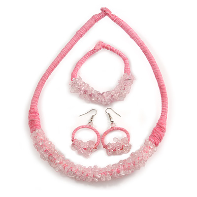 Ethnic Handmade Semiprecious Stone with Cotton Cord Necklace, Bracelet and Hoop Earrings Set In Light Pink- 56cm L