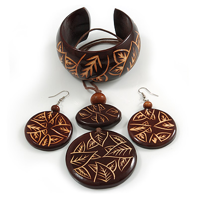 Long Brown Cord Wooden Pendant with Leaf Motif, Drop Earrings and Cuff Bangle Set in Brown - 76cm L/ Medium Size Bangle