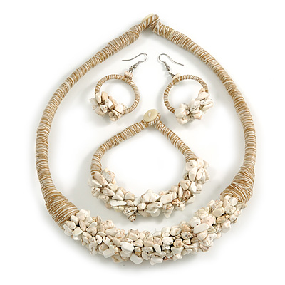 Ethnic Handmade Semiprecious Stone with Cotton Cord Necklace, Bracelet and Hoop Earrings Set In Antique White/ Beige - 56cm L
