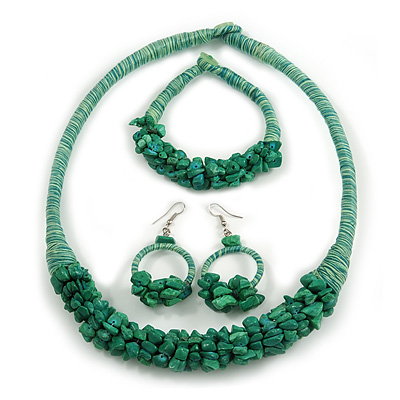 Ethnic Handmade Semiprecious Stone with Cotton Cord Necklace, Bracelet and Hoop Earrings Set In Green - 56cm L
