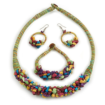 Ethnic Handmade Semiprecious Stone with Cotton Cord Necklace, Bracelet and Hoop Earrings Set In Multi - 56cm L