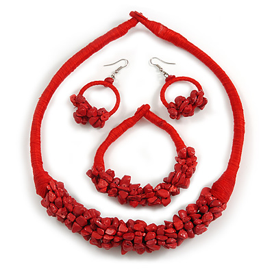 Ethnic Handmade Semiprecious Stone with Cotton Cord Necklace, Bracelet and Hoop Earrings Set In Red - 56cm L
